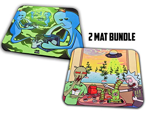 8x10 inch Rich and Marty Dabmatz | 2 Mat Bundle | Protective Thick Coaster | Trivet | Dab Mat | Rig Mat | Plant Coaster | Easy to Clean | Protect Your Glass, Floors, and Surfaces.