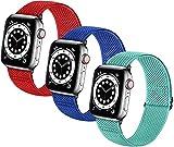 LGFCOK Bandas de relojes elásticas trenzadas suaves de nylon SOLO LOOP compatible con for el reloj de Apple Sport Ajustable Sport Transpirable Strap de la muñeca for iWatch Series 7/6/5/4/3/2 / 1 / SE