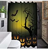 XIAOBAOZIYS Duschvorhang,wasserdichte Schimmel Nachweis Resistent Waschbar Bad Vorhang, Cartoon Schwarze Fledermaus, 3D-Duschvorhänge Mit 12 Haken Für Bad, 59 X 70 Zoll (150 X 180 cm).