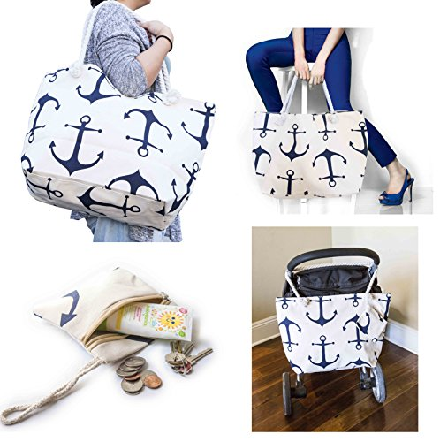 Summer Beach Bag Stroller Friendly Women's Large Capacity Mom's Tote Beach Shoulder Bag With Rope Handles –Shopping Bag, Diaper Bag, Yoga Bag, Toys, Towels, Swim Suits, etc. (Anchor Navy)