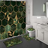 MitoVilla Emerald Green Bathroom Sets with Shower Curtain and Rugs and Accessories, Modern Green Marble Shower Curtain Sets with Rugs, Geometric Hunter Green Shower Curtain for Bathroom Decor, Gold