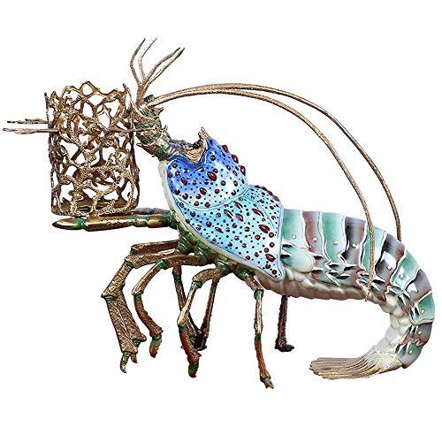 Weinregal European-style Keramik Intarsien Copper Hummer Weinregal Handwerk High-End-Club Wohnzimmer Weinklimaschrank Esstisch Dekoration Für die Heimküchenbar ( Farbe : Blau , Size : 51x23x38cm )