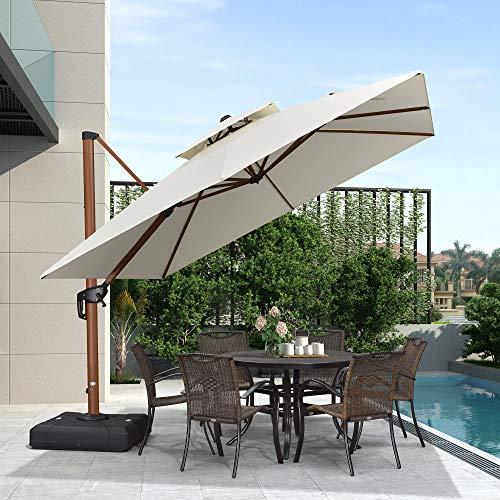 Ombrello quadrato con motivo a foglia viola, 3 m, in legno, per patio o esterni, ombrellone da giardino, Crema