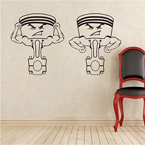 Motorkolben Wandtattoo Automaschine Vinyl Aufkleber Home Interior Garage Dekor Abnehmbares Dekor Wandkunst Benutzerdefinierte Abziehbilder 58 * 36Cm
