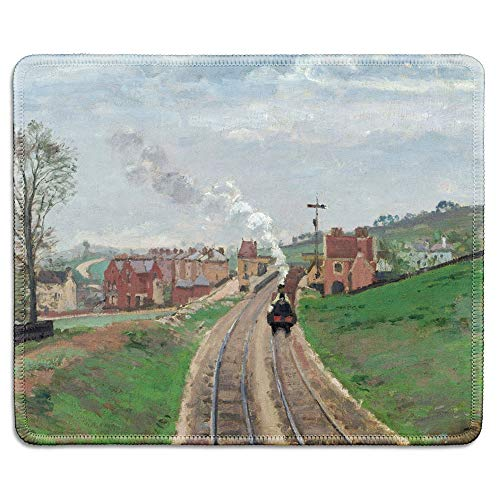 dealzEpic - Art Mousepad - Natural Rubber Mouse Pad with Famous Fine Art Painting of Lordship Lane Railway Train Station Dulwich by Camille Pissarro - Stitched Edges - 9.5x7.9 inches