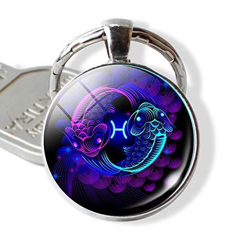 DSBN sleutelhanger 12 Constellation Leo Virgo sleutelhanger glas cabochon hanger sterrenbeeld sleutelhanger zilver tas hanger sleutelhanger verjaardagscadeau vissen