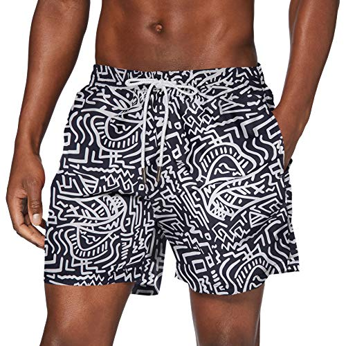 Urban Classics PatternSwim Shorts Baador para Hombre, Sings AOP, M