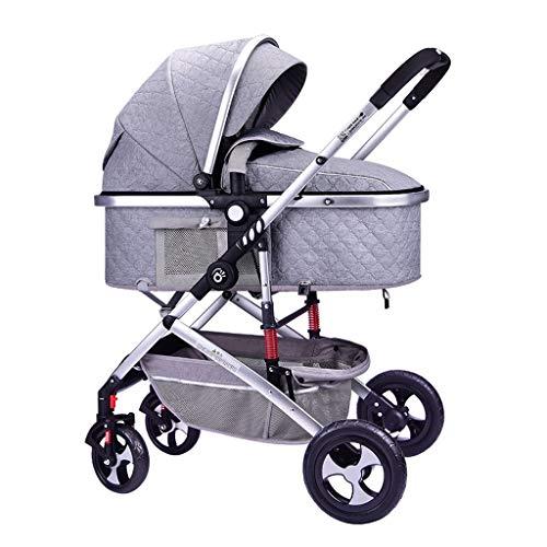 HHHGO 3-in-1 kinderwagen, opvouwbare kinderwagen voor kinderen, pasgeborenen en peuters, meervoudig verstelbare parasol, 360 graden universele rubberen wielen met schokdemping