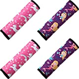 Frienda 4 Pieces Kids Car Seat Belt Cover Safety Belt Cushion Car Seat Belt Pad Car Seat Shoulder Protector Pillow Belt Cover Pad for Baby Boys Girls Children, Mermaid and Unicorn