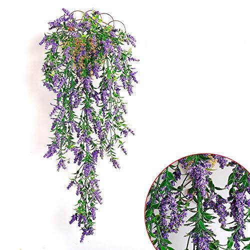 Kunstbloemen wijnstok Ivy bladeren Garland kunstmatige planten 80 cm / 34.5 in vervalste wijnstok plant vervalste bladeren bloemen voor bruiloft huis keuken tuin kantoor bruiloft wanddecoratie (kleur: paars) lila