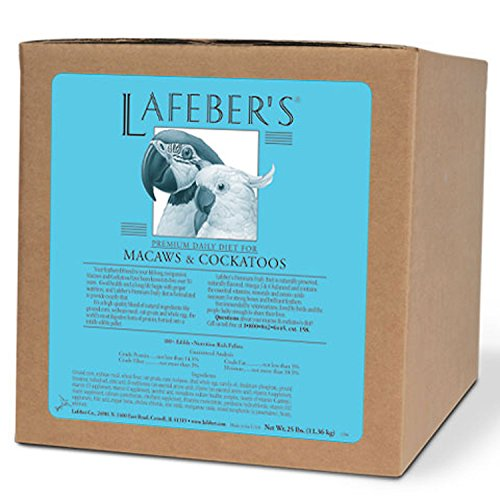 LAFEBER'S Premium Daily Diet Pellets Pet Bird Food, Made with Non-GMO and Human-Grade Ingredients, for Macaws & Cockatoos, 25 lb