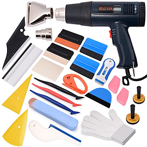 WINJUN Vinyl Wrap Tool Kit Window Tint Tools for Cars Wrapping Window Film Wallpaper Installation- Include Vinyl Squeegees, Scraper, Magnet Holders, Vinyl Gloves, Film Cutters, Heat Gun for Vinyl Wrap