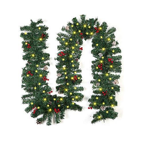 Bcamelys Ghirlanda Natalizia, Ghirlanda di Natale Addobbi Natalizi 270cm, Decorazioni Natalizie e Luci Fiabesche a LED Ghirlande Pigne per Decorazioni (Taglia 1)