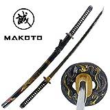 "MAKOTO Hand Forged Razor Sharp 41"" Black Samurai Katana Sword - Hand Painted Golden Dragon on Scabbard"