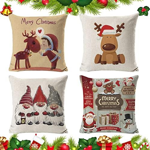 4 Piezas Fundas de Almohada de Navidad para Sofá,Juego de 4 Navidad Fundas de Cojín,Fundas navideñas para Cojines,Navidad...