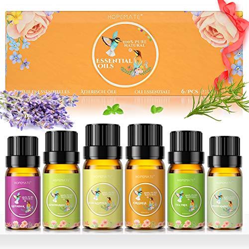 Ätherische Öle Set 6er Pack, 100{88f4e044c1184c945d4956136ddba101af34fe4da579e19240288dc08bd69736} Pure Duftöl für Diffuser, Vegan & Naturrein Geschenk, 10ml x 6 Verschiedene Aromen - Lavendel, Teebaum, Eukalyptus, Zitronengras, Orange, Pfefferminze