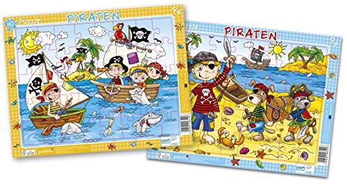 paletti Rahmenpuzzle Piraten 2er Set, je 40 Teile Lernspiel