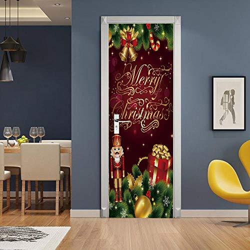 APAJSG Pegatinas Puertas Interiores 3D Vinilo Autoadhesivo Adhesivos para puertas Dormitorio decoración del hogar Cartel 95x215 cm regalos de Navidad