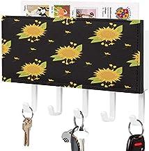 Porte-clés petit - Crochet de clé mural, Porte-clé de courrier, Organisateur de clé de courrier, Un tournesol jaune avec d...