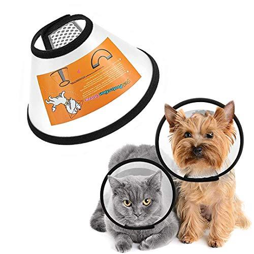 FayTun Recuperación de Cono de Mascotas, Ajustable ABS para Perros y Gatos, Anillo Protector de Seguridad cómodo para Mascotas y Perros pequeños (S)