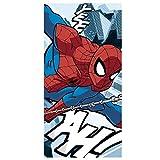 Kids Euroswan Toalla con Diseño Spider-Man, Algodón, Azul, 0.5x70x140 cm