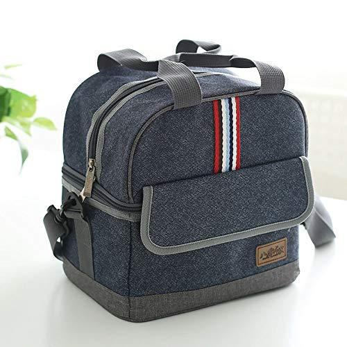 HO-TBO Picknick-Tasche, Doppel-Mittagessen-Beutel Studenten Lunch Bag Aluminium Foil Kühltasche Blau Tragbares Outdoor-Tisch & Picknickgeschirr (Color : Blue, Size : 24x17x23.5cm)