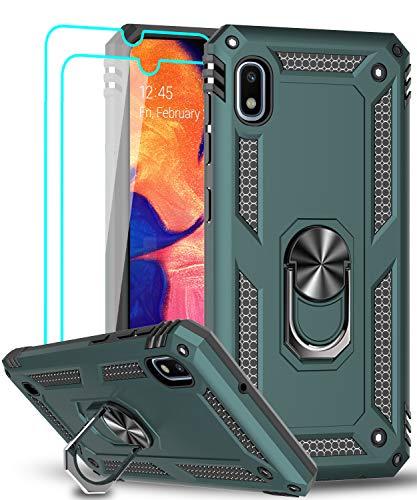 LeYi für Samsung Galaxy A10/Galaxy M10 Hülle mit Panzerglas Schutzfolie(2 Stück),360 Grad Ring Halter Handy Hüllen Cover Schutzhülle Bumper für Hülle Samsung Galaxy A10 Handyhülle Grün