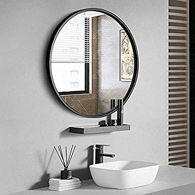 "TinyTimes 31.5"" Modern Large Round Mirror, Accent Mirror, Black Round Wall Mirror, Brushed Framed, Circle Metal Mirror, Home Decor, for Bathroom, Living Rooms, Entryways"