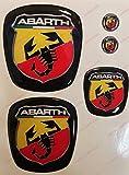 Logo Fiat 500 ABARTH anteriore, posteriore + volante + 2 stemmi per portachiavi. Per cofano e baule. Adesivi resinati, effetto 3D. Fregi Scorpione, sfondo nero
