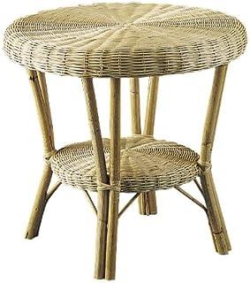 PEGANE Table en manau et moelle de rotin Naturelle, Dim : Ø 60 h 55 cm