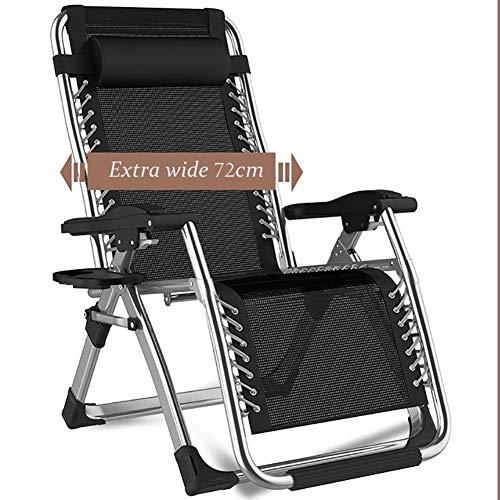 Chaises longues Chaises Pliantes Fauteuils Noire Extra Large avec Oreiller et Porte-gobelet, Inclinable Pliant Zero Gravity pour Piscine Extérieure de Patio de Plage