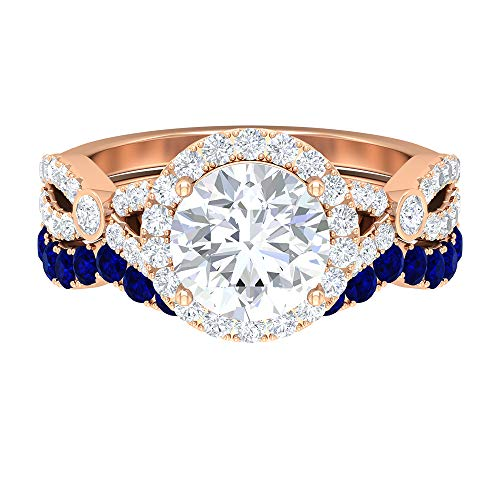 Split Shank Engagement Ring, 2.68 CT D-VSSI Round Moissanite Ring, 1.9 MM Round Blue Sapphire Ring, Gold Eternity Band (AAA Quality), 14K Rose Gold, Size:UK S1/2