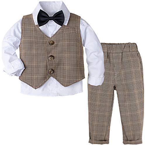 mintgreen 4PCS Bébé Garçon Ensemble de Costume Enfants Tenue Formel pour Mariage Baptême Soirée Vêtement Costume Set, Brun, 2-3 Ans (Taille Fabricant: 100)