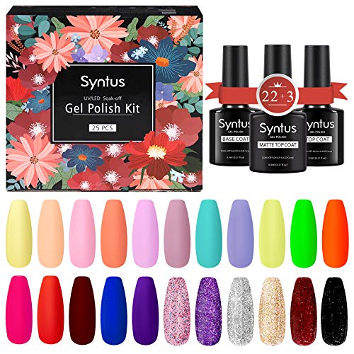 Syntus 25 Pcs Gel Nail Polish Kit, Soak Off Nail Gel Collection with 8ML Matte & Glossy Top Coat and Base Coat Manicure Nail Art Salon