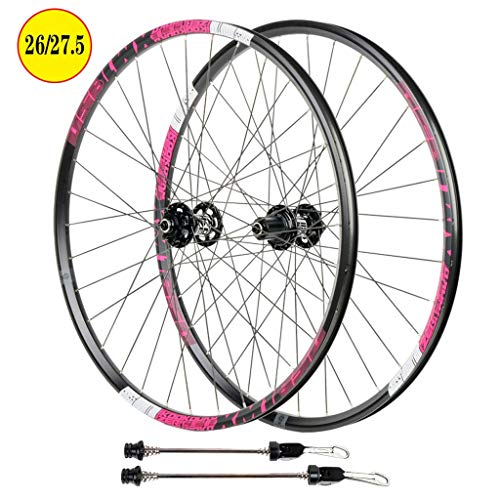 27.5 Inch Bike Wheelset, Double Wall Disc Brake Aluminum Alloy Quick Release Hybrid/Mountain Bearings Hub 8/9/10/11 Speed (Color : D, Size : 26 inch)
