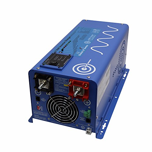 AIMS Power 2000 Watt Pure Sine Inverter Charger 120 Vac Single Phase, 6000W Surge for 20 Seconds -3X Surge Capability, Battery Priority Selector