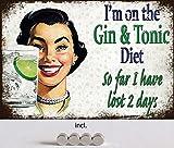 Cartel de Chapa de 20 x 30 cm, Curvado, Incluye 4 imanes Gin & Tonic Diet Dieta Vintage Humor Deko Regalo Cartel Cocktail