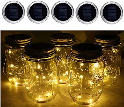 DLY Solar Mason Jar luz, Jar Fee luz, estanco Glasgläser jardín Hängeleuchten,LED String luz para Party, Hochzeitsdekoration, exterior, farol, patio, pared, mesa, árbol,(1 unidades)