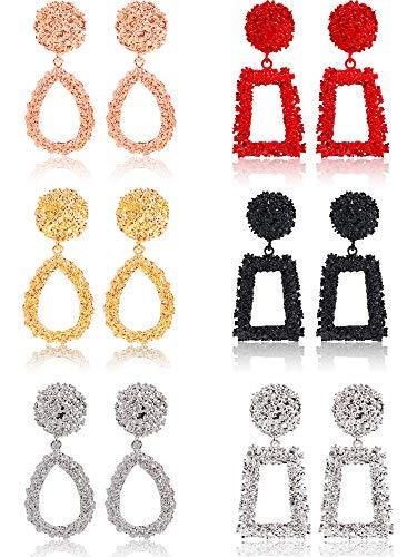 6 Pairs Metal Square Earrings Geometric Trapezoidal Earrings Bohemian Raised Design Drop Earrings for Women