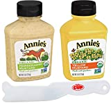 Annie's Organic Condiment Variety Pack, Yellow Mustard and Mustard Horseradish 9 oz Bottles (Pack of 2) with By The Cup Spreader