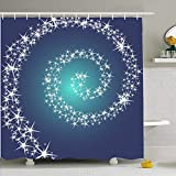 Shower Curtain For Bathroom 60x72 Gaze Blue Way Cosmos Alien Christmas Against Cosmic Sky Abstract Astral Astronomy Nebula Black Circle Waterproof Polyester Fabric Bath Decor Set With Hooks 72x72 Inch