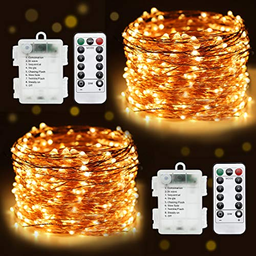 2-Pack Battery Operated String Fairy Lights,32.8 Feet Remote Fairy Lights,100 LEDs Waterproof Flexible String Lights Battery Operated for Bedroom Home Wedding Christmas Festivals Warm White