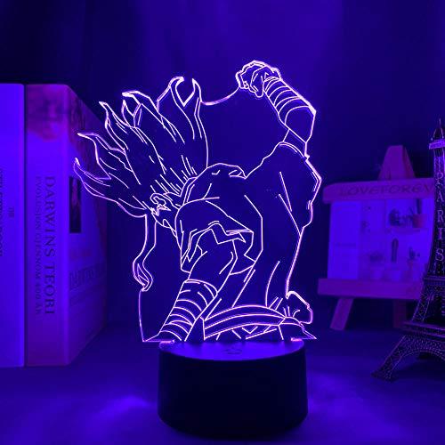 Dr Stone Anime Luz de LED para decoração de quarto, luz noturna, presente de aniversário infantil, mangá, luz noturna, roupa fresca, mesa 3D, abajur remoto