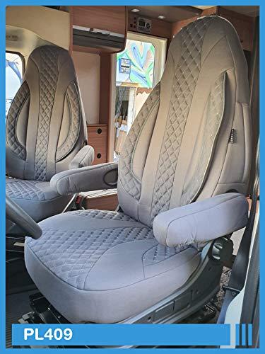 Maß Sitzbezüge kompatibel mit FIAT Ducato 250 Fahrer & Beifahrer ab BJ 2006 Farbnummer: PL409 (Grau)