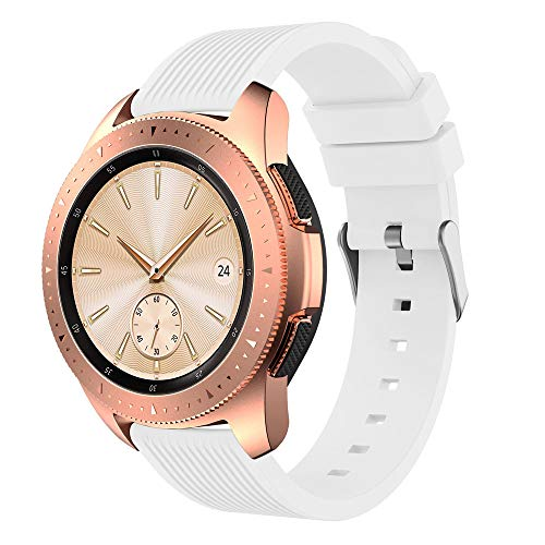 MuSheng For Samsung Galaxy Watch 42MM Armband Band,Neuer Fitness Verstellbare Weicher Silikon Ersatz Band Bügel Armband für Samsung Galaxy Watch 42MM (Weiß)
