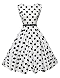 Black Polka Dot Retro Wiggle Dresses Classic Tea Dress Size S F-6