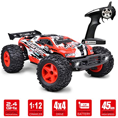 RC Cars 45+km/h RC Truck 1/12 Scale, 4WD 2.4Ghz Fast Remote Control Car & Truck, RTR Off Road RC Car