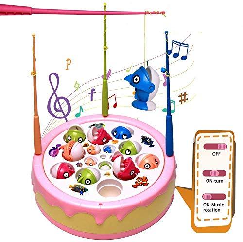 jerryvon Fische Angeln Spielzeug Elektrisch Angelspiel Musik Fischen Set für Kinder ab 3 4 5 Jahren, mit 10 Großen Fischen und 5 Normal Große Fische
