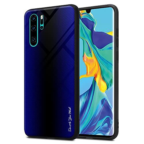 Cadorabo Hülle kompatibel mit Huawei P30 PRO - Streifen Optik in Cobalt LILA - Handyhülle aus TPU Silikon und Tempered Glas - Silikonhülle Schutzhülle Ultra Slim Back Cover Case Bumper