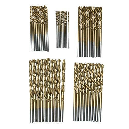 DRILAX 50 pcs 1mm 1.5mm 2mm 2.5mm 3mm Titanium Coated HSS High Speed Steel Drill Bit Tool Set
